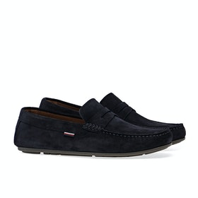 Tommy Hilfiger Classic Suede Penny Loafer Dress Shoes - Desert Sky