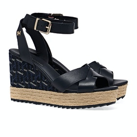 Tommy Hilfiger Raffia High Wedge Women's Sandals - Desert Sky