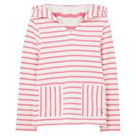 Joules Astbury Girls Pullover Hoody - White Pink Stripe