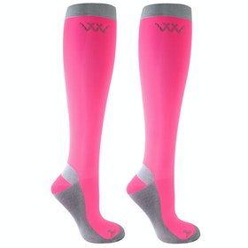 Riding Socks Woof Wear 2 Pack Competition - Pink Grey