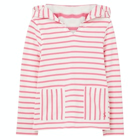 Joules Astbury Girl's Pullover Hoody - White Pink Stripe