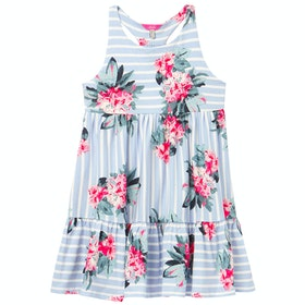 Joules Juno Girl's Dress - Blue Stripe Floral