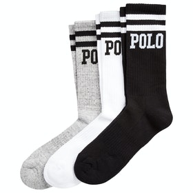 Calcetines Polo Ralph Lauren Logo Crew 3-Pack - White / Grey / Black