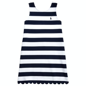 Polo Ralph Lauren Ponte Scall-knit Girl's Dress - French Navy White