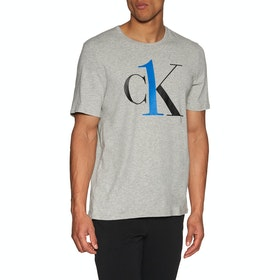 Camiseta de manga corta Calvin Klein Logo Crew Neck - Grey Heather Flame Scarlet