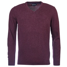 Barbour Essential Lambswool V Neck Mens Sweater - Merlot
