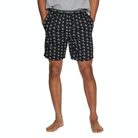 Calvin Klein Printed Sleep Short Pyjamas - Staggered Logo Black