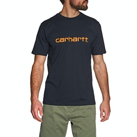 T-Shirt à Manche Courte Carhartt Script - Dark Navy / Pop Orange