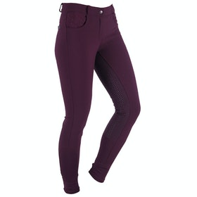 Riding Breeches Damski QHP Charlene Full Grip - Aubergine