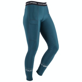 QHP Ylana Leg Grip Pull-on Ladies Riding Tights - Deep Teal