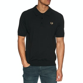 Fred Perry Re Issues Raglan Sleeve Knit Polo Shirt - Black / Champagne