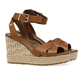 Tommy Hilfiger Raffia High Wedge Women's Sandals - Summer Cognac