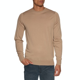 Maglione Uomo John Smedley Made in England Marcus Crew Neck Merino - Light Camel
