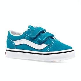 Vans Old Skool V Kids Toddler Shoes - Caribbean Sea True White