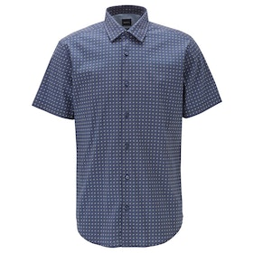 BOSS Rash Printed Short Sleeve Shirt - Dark Blue