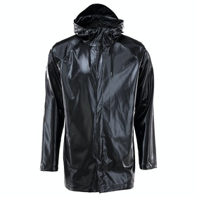 Rains Short Coat Jacket - Shiny Black
