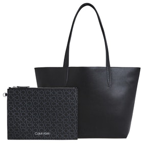 Calvin Klein Mono Shopper Md Shopper Bag - Black Mono Mix