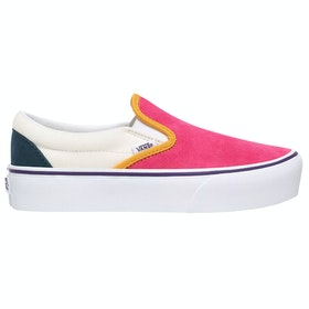 Vans Classic Platform Ladies Slip On Trainers - Mini Cord Multi True White