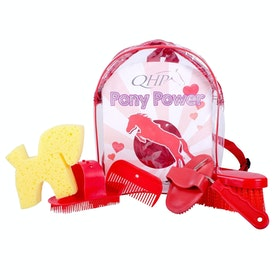 QHP Pony Power Backpack Grooming Kit - Red