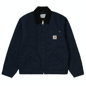 Carhartt Og Detroit Jacke - Dark Navy / Black Rinsed