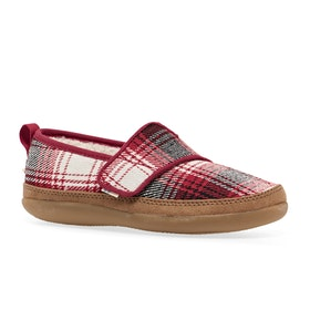 Toms Inca Kids Slippers - Youth Red Plaid