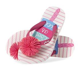 Joules Jnr Flip Flop Girls Sandals - White Ice Pop