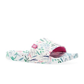 Joules Jnr Poolside Girls Sandals - White Flamingo Ditsy