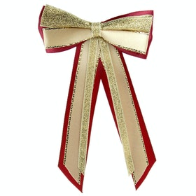 Showquest Hairbow and Tails Bow - Burgundy Cream Gold