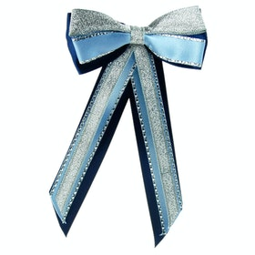 Bow Showquest Hairbow and Tails - Navy Pale Blue Silver