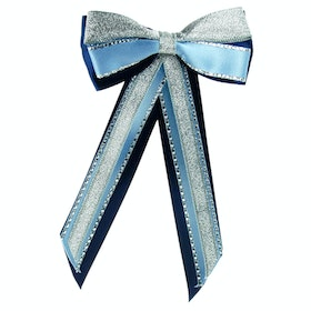 Showquest Hairbow and Tails Bow - Navy Pale Blue Silver
