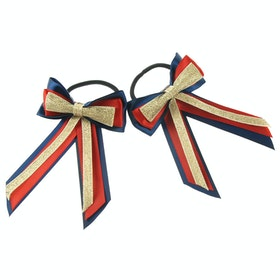 Bow Showquest Piggy Bow and Tails - Navy Red Gold