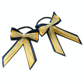 Showquest Piggy Bow and Tails Bow - Navy Sunshine Gold