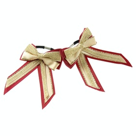 Showquest Piggy Bow and Tails Bow - Burgundy Cream Gold