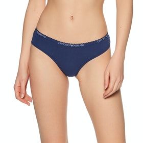 Emporio Armani Essential Cotton Knitted Women's Knickers - Blu Indaco