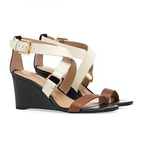 Lauren Ralph Lauren Chadwell Damen Sandalen - Deep Saddle Tan/black/vanilla