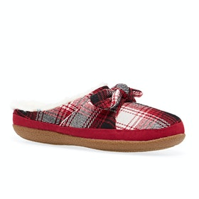 Toms Ivy Womens Slippers - Red Plaid Bow