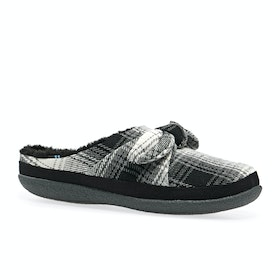 Toms Ivy Womens Slippers - Black Plaid Bow