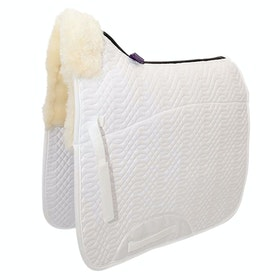 KM Elite Lambswool Half Lined Dressage Square Saddlepads - White