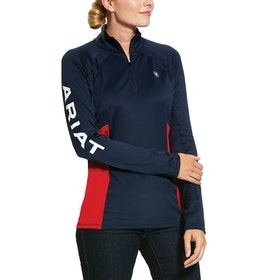 Ariat Sunstopper 2.0 1/4 Zip , Basislag-topp Kvinner - Navy
