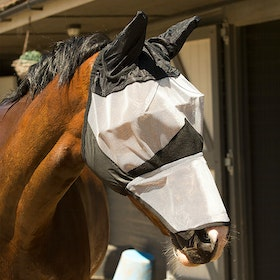 KM Elite with Ears Long Fly Mask - Black