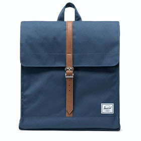 Herschel City Mid-volume Backpack - Navy Tan Synthetic Leather