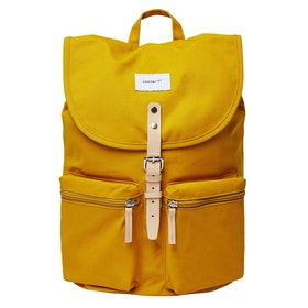 Sandqvist Roald Backpack - Yellow With Natural Leather