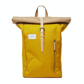 Sandqvist Dante Backpack - Multi Yellow Beige With Natural Leather