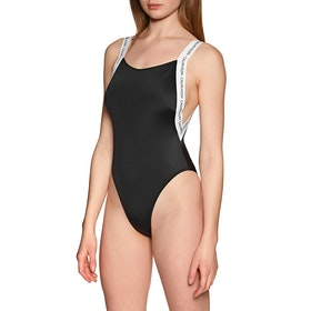 Calvin Klein Logo Straps Scooped One Piece Women's Swimsuit - Pvh Black