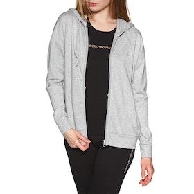 Emporio Armani Knitted Sweat Damen Kapuzenpullover mit Reißverschluss - Grigio Mel chiaro