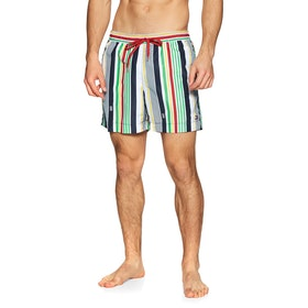 Tommy Hilfiger Medium Drawstring Multistripe Print Swim Shorts - Pitch Blue
