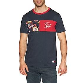 Tommy Hilfiger Organic Crew Neck Print Short Sleeve T-Shirt - Navy Blazer