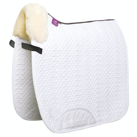 KM Elite Lambswool Rolled Edge Dressage Square Saddlepads - White