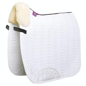 KM Elite Lambswool Rolled Edge Dressage Square Saddle Pad - White