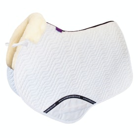 KM Elite Lambswool Close Contact Half Lined Saddle Pad - White Natural